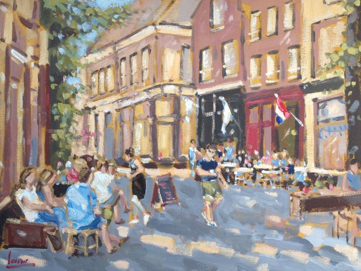 Nicole Laceur, Arnhem, Zevenstraatjes, zonnig schilderij,impressionist