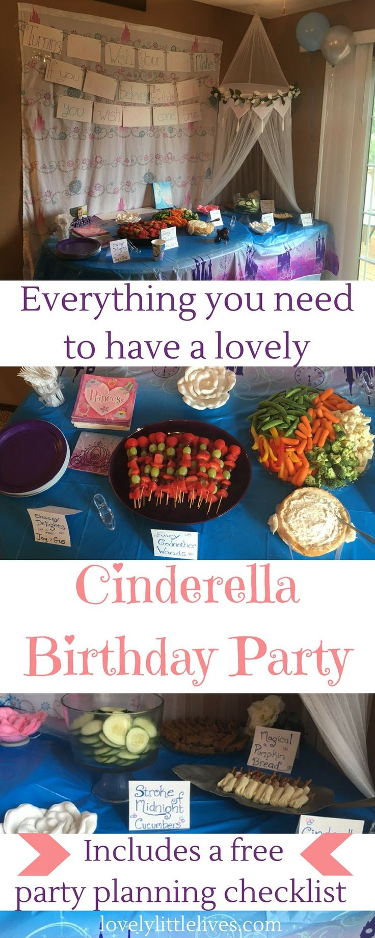 Everything you need to have a lovely Cinderella party. Plus a free party planning printable! Click through to get yours! |Cinderella Birthday Party | Disney Princess Party | Birthday Party Planning |