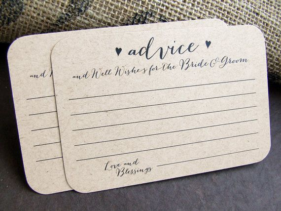 100 Advice Wedding Advice Cards For The Bride And Groom Printed Cards Well Wishes Words Of