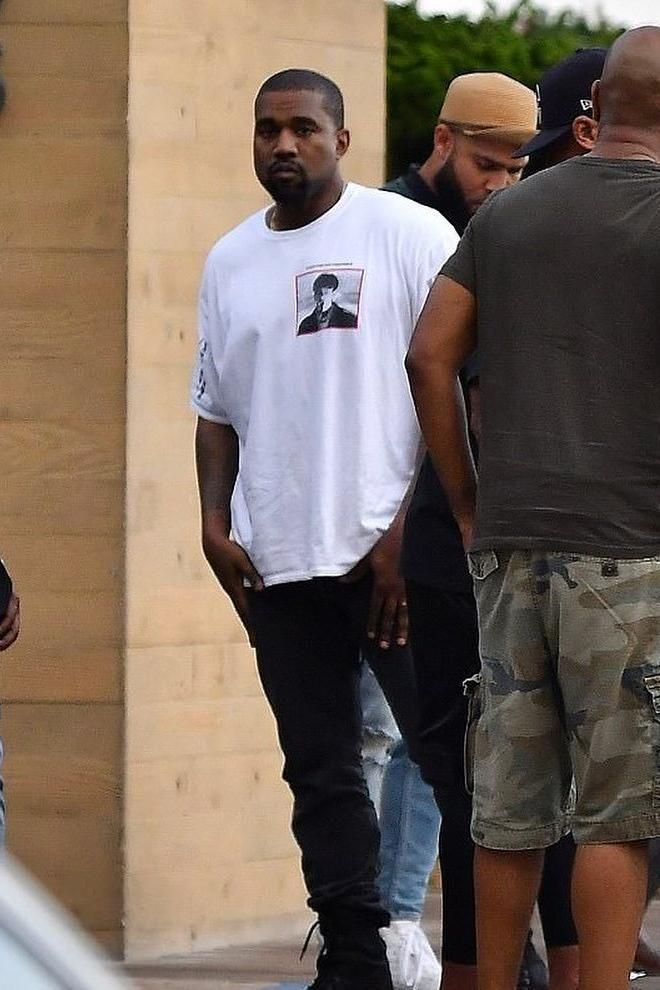 d64c455ed747 Kanye West spotted in Malibu wearing white tee by Boot Boyz Biz ...