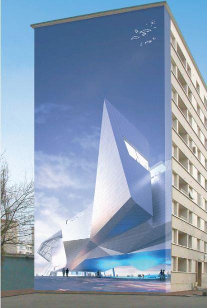 La Tour de Babel du Futur de Coop Himmelblau Mur peint, 11 boulevard des États-Unis LYON