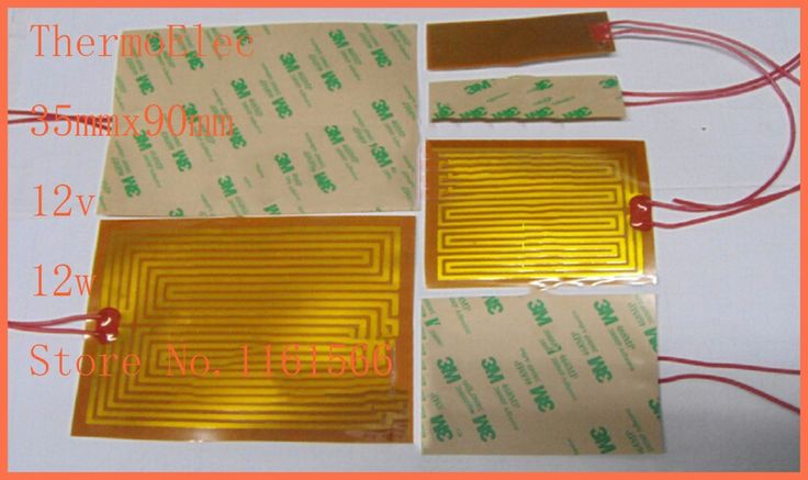 35x90mm 12v 12w ,PI film heating film polyimide heater heat rubber electric element heating pan Element For 3D Printer flexible