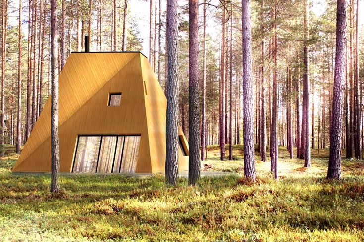 Nexus is contemporary wooden house based on the geometry of a square twisted tower. In this image, its sculptural shape and heavy presence contrasts with the soft mood of a sunny Finnish forest
