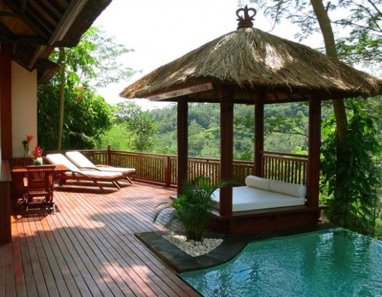 Lounge gazebo/canopy bed by the pool. Love it!