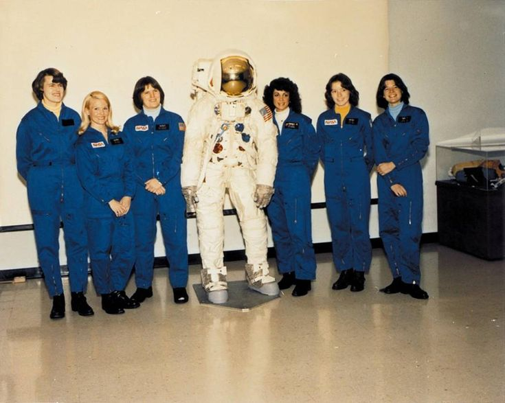 (L to r) NASA astronauts Shannon W. Lucid, Margaret Rhea Seddon, Kathryn D. Sullivan, Judith A. Resnik, Anna L. Fisher and Sally K. Ride. These six women were the first official female astronaut candidates, although 12 women underwent some astronaut training in the 1960s.