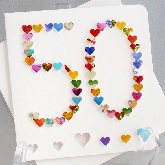 Card Making Ideas 50th Birthday Part - 23: 50th Birthday Card - Personalised Age 50 Card - Fiftieth Birthday Card - 50th  Card - 50th Birthday Card For Mum - 50th Card For Her - BHA50