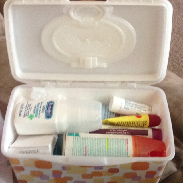 Wet wipes, first aid kit,
