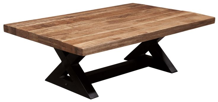 Weslin Rectangular Cocktail Table with Mango Wood Top & Metal X-Braced Base by Ashley Signature Design