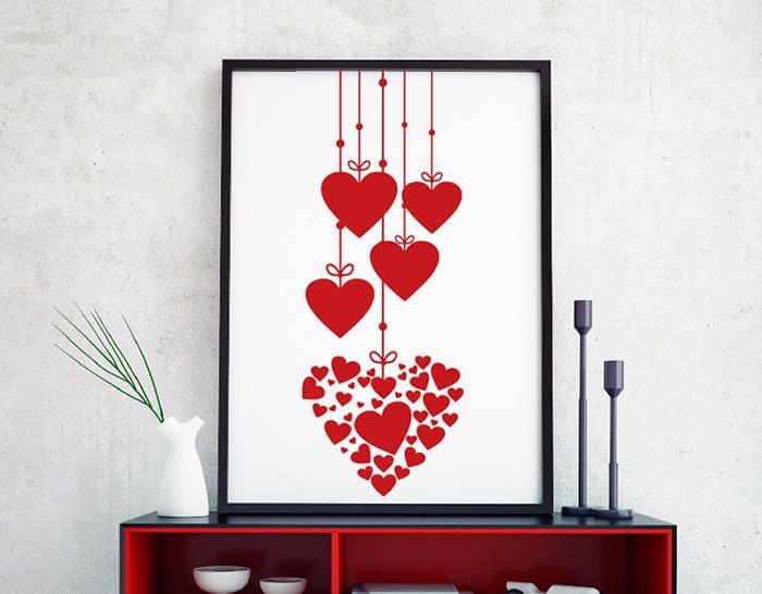vinilo cargado de corazones para decorar paredes o el escaparate en tiendas y comercios