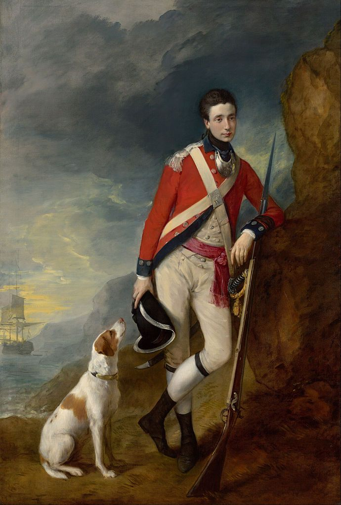 An officer of the 4th Regiment of Foot [and his faithful hound] Ensign Richard St. George Mansergh St.George, 4th Foot, c.1780, by  Thomas Gainsborough - The Athenaeum -