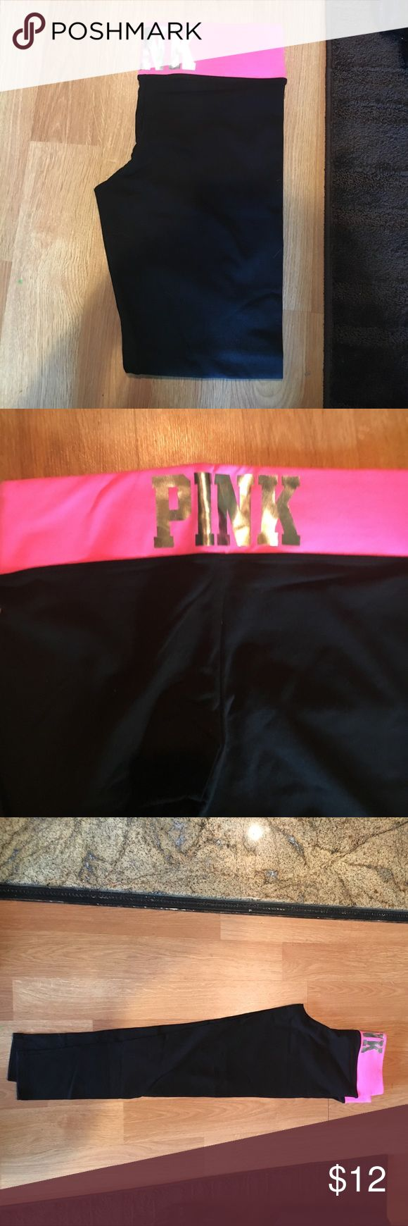 Victoria's Secret Pink Yoga Pants Never been worn Victoria's Secret Yoga Pants. They have a skinny leg. They are black, pink and silver. They are a size medium. PINK Victoria's Secret Pants Straight Leg
