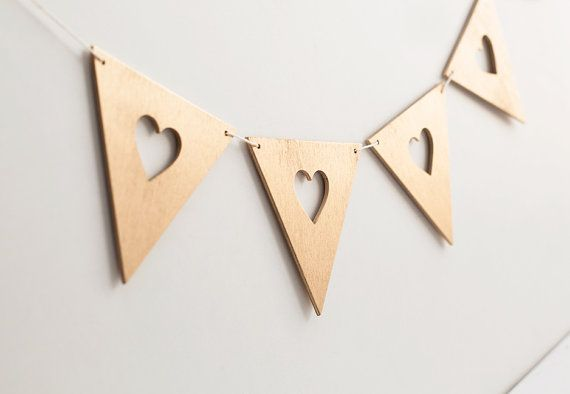 Heart garland - bunting hearts flag love banner white gold wooden wedding home nursery decoration party decor custom colors