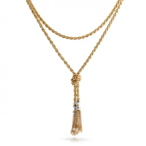 Bling Jewelry Fetish Inspired Gold Plated Pearl Tassel Rope Chain Necklace 52in