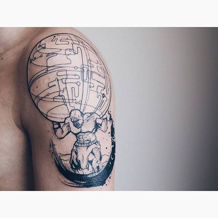 Atlas god tattoo on the left upper arm atlas tattoo for Atlante compass