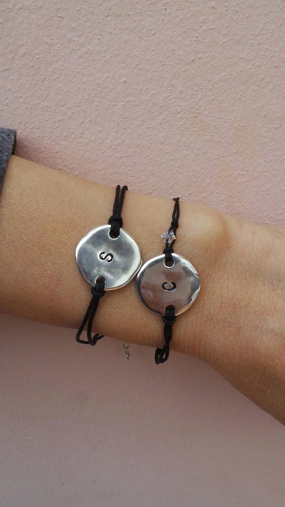 Long Distance Relationship Bracelet Personalized Disc Uni Personalised Initial His And Her