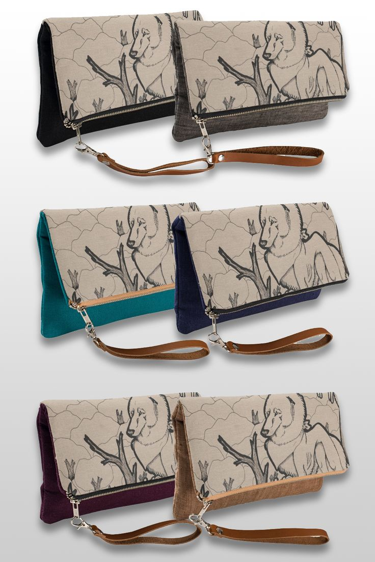 """Autumn"" Illustrated Wolf Clutch Bag, available in 6 different colors. #products #art #illustration #gifts"