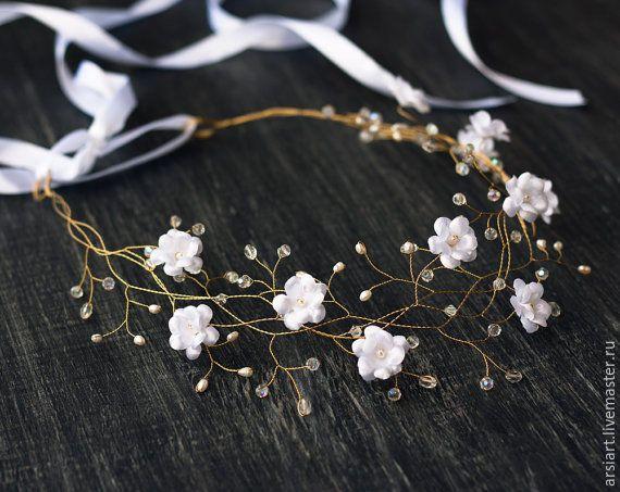 Купить 32_Белая свадебная диадема, Цветочная корона для волос - диадема, свадебная диадема, диадема свадебная
