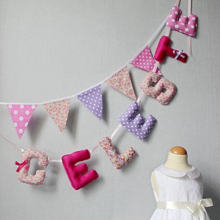 Banderole de lettres, Guirlande Prénom Fille, Bannière Nom, Déco Chambre bébé / : Décoration pour enfants par popelineco