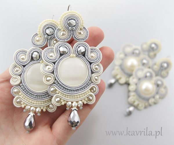 exclusive soutache earrings for wedding  by Kavrila