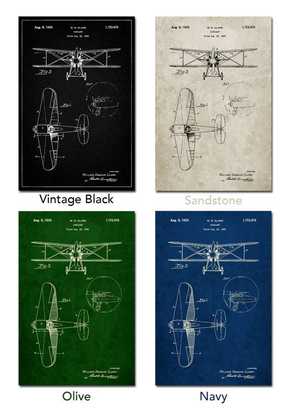 Staggered Biplane Aircraft Patent Poster Airplane Print