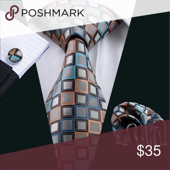 Men's 100% Silk Novelty Tie Set Men's Novelty 100% Silk Tie Gravata Hanky Cufflinks Set For Men Formal Wedding Party Groom Business Queen Esther Etc Accessories Ties