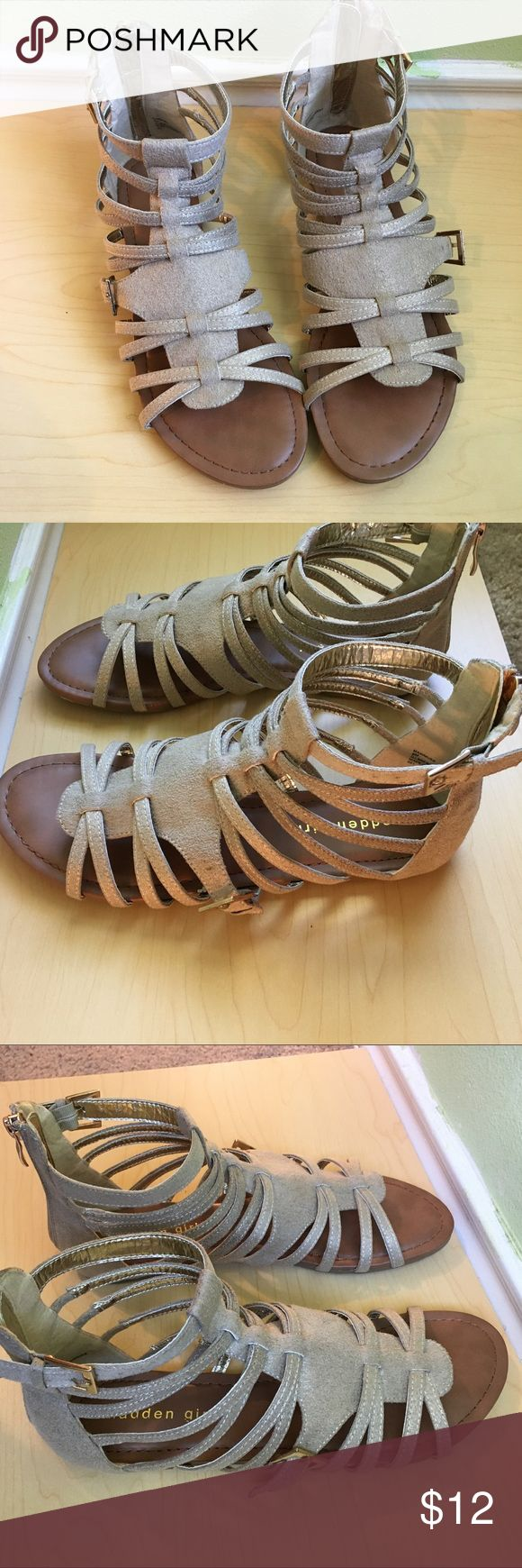 Madden Girl Sandels Never been worn. Glitter gold design zip up in the back. Buckle to widen if needed in side. Needs a new home Madden Girl Shoes Sandals