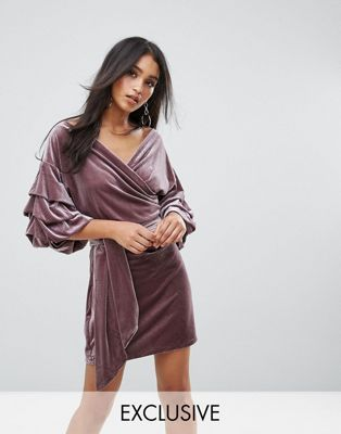 d86bb37b Lioness Velvet Off Shoulder Mini Dress With Ruched Sleeve Detail ...