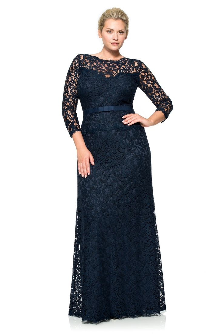 Lace Boatneck ¾ Sleeve Gown with Grosgrain Ribbon Belt - PLUS SIZE | Tadashi Shoji