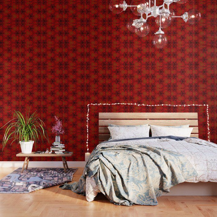 Geometric Red And Black Optical Illusion Wallpaper Grey Wallpaper Textured Wallpaper Cool Walls