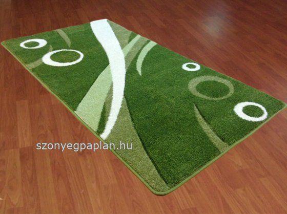 Modern zöld karikás szőnyeg 60-as futószett