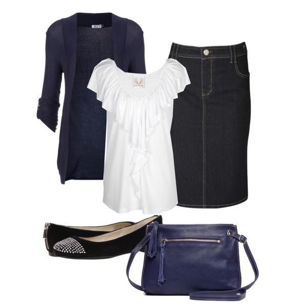 Navy Blue & White LOVE the skirt length, WHY can't find this length anywhere???!!!
