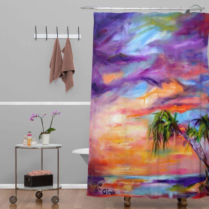 Ginette Fine Art Florida Palms Beach Shower Curtain   DENY Designs Home Accessories
