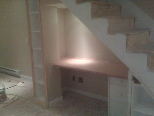 Woodworking Talk Woodworkers Forum Desk Under Stairs