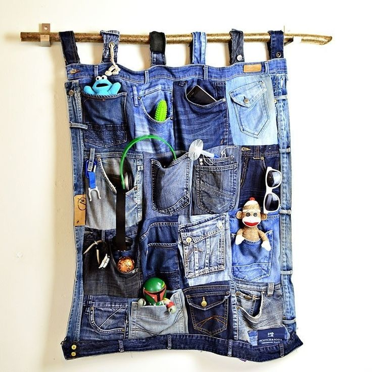 Upcycled Denim Pocket Organiser  •  Free tutorial with pictures on how to make a wall tidy storage unit in under 120 minutes