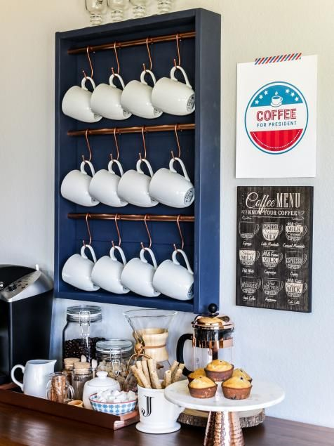 Need a space-saving solution for your collection of coffee mugs? Save valuable cabinet and countertop space and make this DIY display for about $25 in just one afternoon. Hang it on the wall, add some coffee-making essentials and create a chic self-serve coffee station.