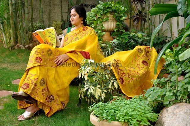 Yellow Kota Saree with Decorative Brocade Border - Saree Blouse Patterns