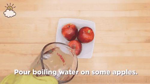 Ella vierte agua caliente sobre una manzana comprada en tienda. Ahora mira qué sale de la cáscara
