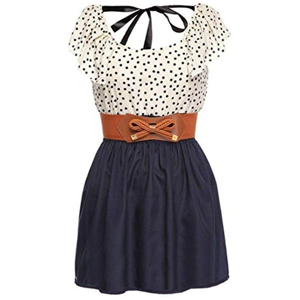 Women's Fashion High Waist Casual Dots Short Dress with Belt ($17) ❤ liked on Polyvore featuring dresses, short dresses, polka dot dress, belted dress, spotted dress and belt dress