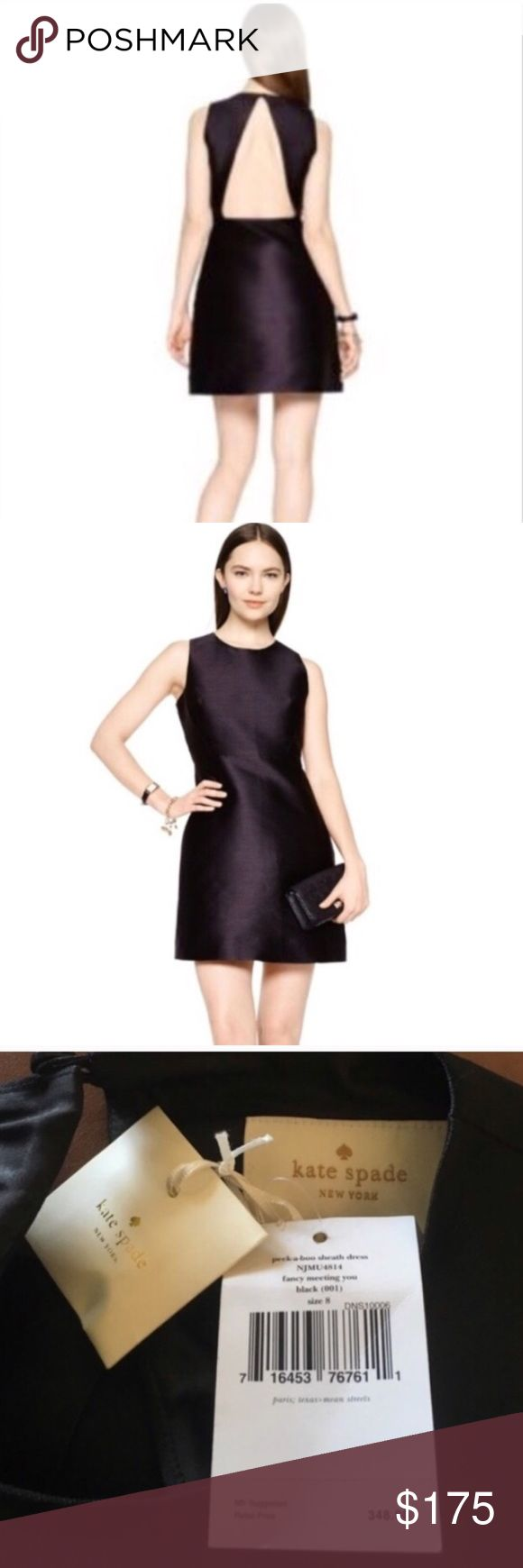 NWT Kate Spade Peek a Boo Black Sheath Dress Super cute and dramatic from the Back! FEATURES 89% polyester, 11% silk 100% polyester lining FIT sheath dress with slightly flared skirt. DETAILS v shaped cutout on back of dress sleeveless  and round neck . dry clean only kate spade Dresses