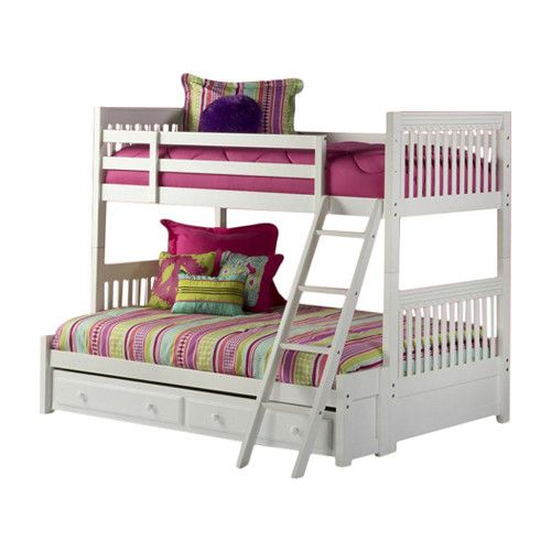 Hillsdale Furniture Lauren Twin Over Full Bunk Bed with Trundle Storage