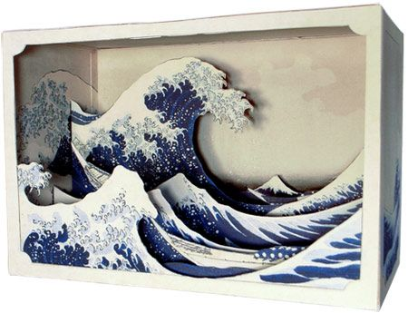 "this is an image of a ""tatebanko,"" the word that refers to the Japanese art of creating paper dioramas. this tatebanko is based on ""The Great Wave at Kanagawa"" by Hokusai, and is sold by the Japanese company, It's a Beautiful Day."