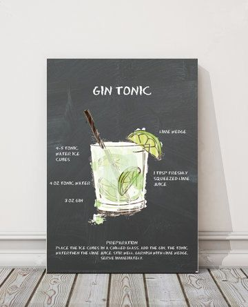 Gin Tonic Recipe Chalkboard Printable Cocktail by BAMdesignshop  Handmade For Sale  Gin Tonic