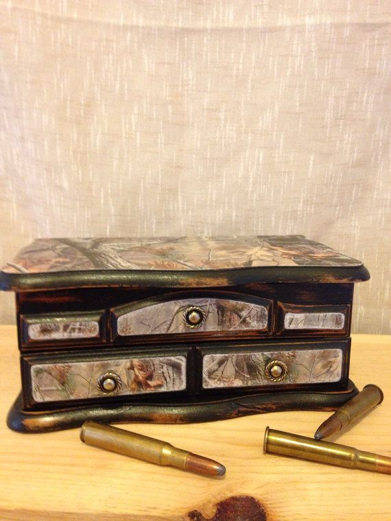 Upcycled Green camo jewelry box