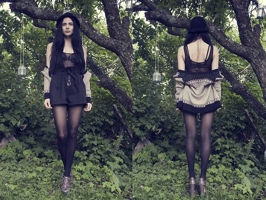 Monkey see, monkey do. (by Barbro Andersen) http://lookbook.nu/look/2042339-Monkey-see-monkey-do-Ii-S-Of-Norway-Knit-Cardigan-Bik-Bok-Sheer-Body-Gina-Tricot-High-Waisted-Shorts-H-M-Hat-Asos-Shoes