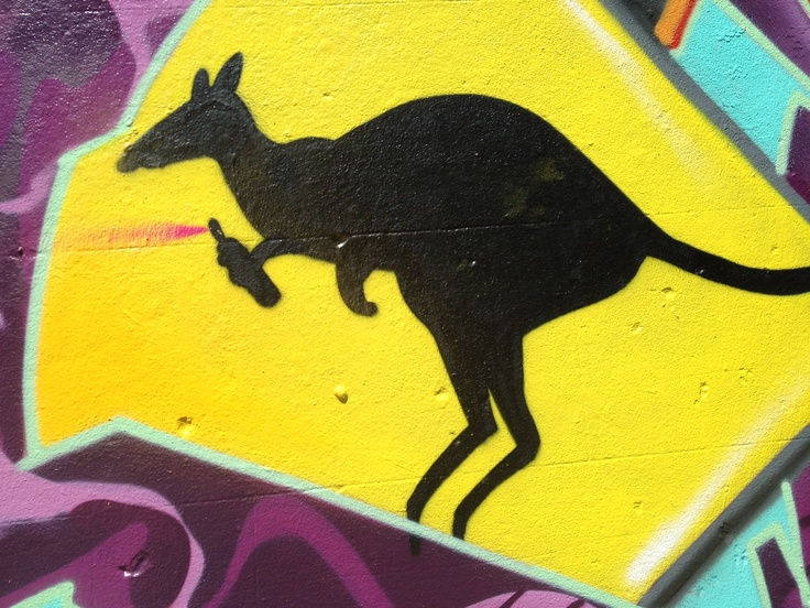 WARNING Aussie roo bomber rocks a graffiti wall in Fitzroy just north of the city of Melbourne