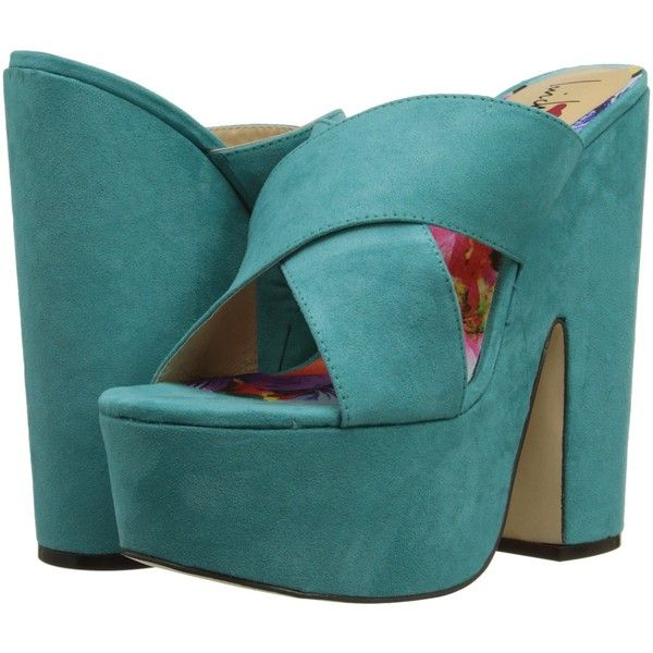 Luichiny Bradshaw (Teal) High Heels (205 BRL) ❤ liked on Polyvore featuring shoes, sandals, blue, high heeled footwear, blue high heel shoes, high heel platform shoes, slip on sandals and chunky heel sandals