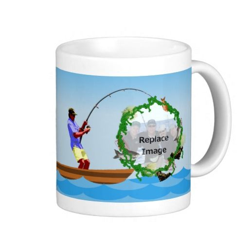 Fishing Buddies Coffee Mugs - This mug has a man fishing on a boat on the ocean. Place a picture of you and your fishing buddies and friends inside the seaweed and catch of the day frame. This would make an awesome and personal birthday, Christmas present, fathers day gift or a good wedding gift for the fishing enthusiast groom!