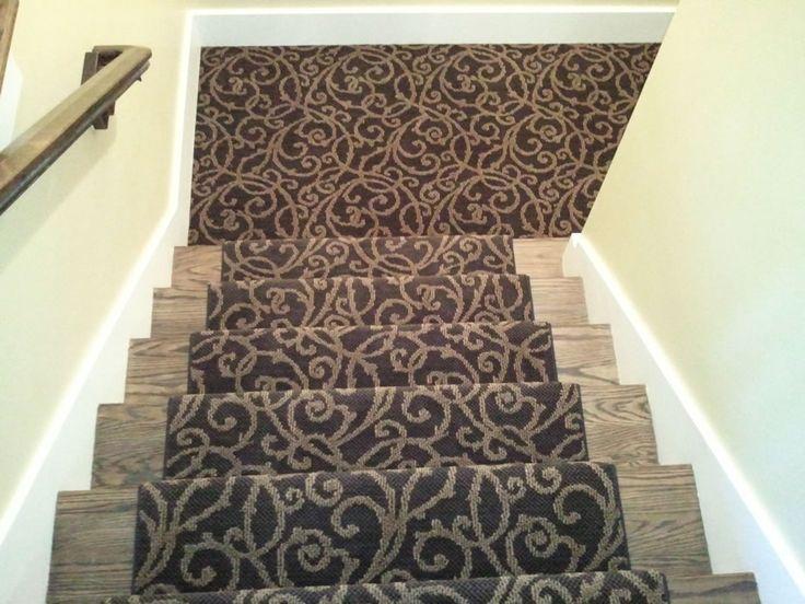 Stair Rugs | MASLAND BLACK CARPET INSTALLED ON STAIRS AS RUNNER IN LEAWOOD,  KS