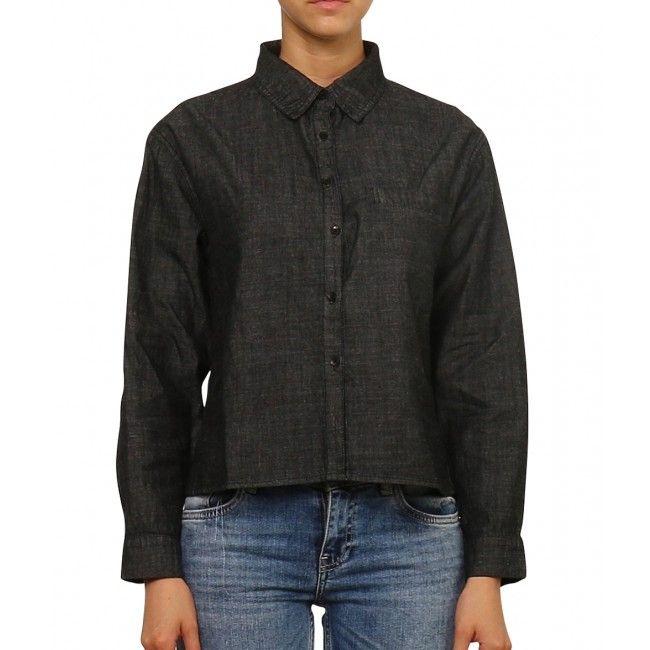 Ladies Cropped Denim Shirt - CHARCOAL
