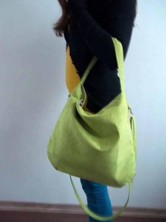 HOBO Shoulder Bag Eco suede Cotton Cream Bag spring by ILAJLA, $39.00